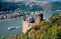 Katz Castle and Rhine River. Rhineland-Palatinate, Germany