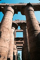 Columns supporting stone roof at Karnak. Luxor, Egypt