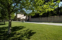 italy, marche, fiastra abbey outdoors