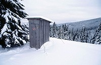 Midwinter wilderness toilet, in the foothills of the Austrian Alps, Hochwechsel above Aspang, Lower Austria