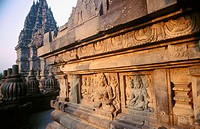 Evening light on relief sculptures depicting scenes from the Ramayana, on the Temple of the Slender Virgin (Durga), one of the spectacular 10th centur...