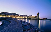 Collioure at dusk. Languedoc-Roussillon, France