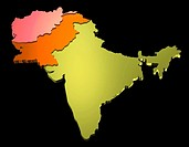 Map of India, Pakistan and Afghanistan (thumbnail)