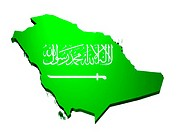 map and flag of Saudi Arabia