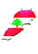 map and flag of Lebanon