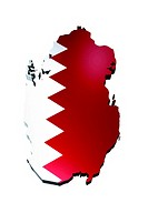map and flag of Qatar