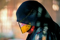 Elderly Arab woman wearing a burqa, UAE