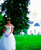 Sad bride at church (thumbnail)