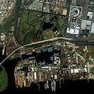 Former US Navy base. Satellite image of the docks area of the Philadelphia Naval Business Center, a former US Navy base in Philadelphia, Pennsylvania,...