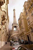 Eiffel Tower viewed from street. Paris. France