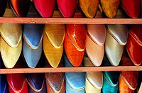 Shelves with slippers in the Agadir medina. Morocco