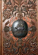 Eberbach, Zisterzienserkloster/ Renaissanceschrank im Refektorium, Wappen (Kloster, Eber, Bach)