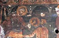 greece, skiathos island, kastro, detail of a fresco in nikolaos church