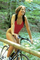 woman, mountain bike, wooden bridge