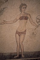 italy, sicily, piazza armerina, villa romana del casale, mosaics