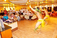 "Traditional dances performed aboard by a local company while anchored in Bora-Bora.   Cruise on the luxury 30 cabins yacht ""Tia Moana"". Leeward island..."