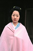 Portrait of 'maiko' (Geisha apprentice). Kyoto, Japan