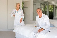 Mature couple in bedroom