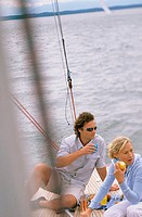 Couple on boat eating lunch