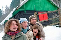 Friends outside in the snow (thumbnail)