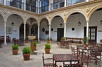 Courtyard of the Parador Nacional del Condestable Dávalos, Úbeda. Jaén province, Andalusia, Spain