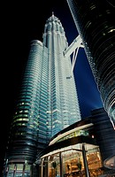 Close up of Petronas Twin Towers at night, Malaysia