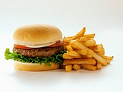 A Hamburger with Fries