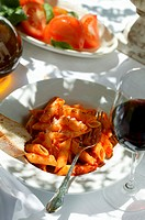 Penne rigate with tomato sauce, red wine glass