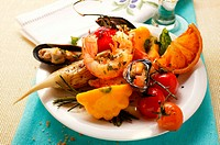 Plate of Mediterranean appetisers (seafood, vegetables)