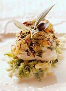 Zander fillet with olive crust