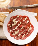 Beef carpaccio with mayonnaise