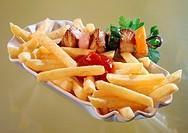 Shashlik with chips