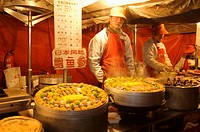 Food vendors at the Donghua Yeshi Night Market. Beijing. China