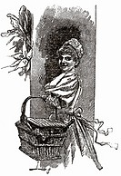 Woman with shopping basket (illustration)