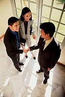 High angle view of two businessmen shaking hands with a businesswoman standing beside them