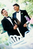 Newlywed young man with his father