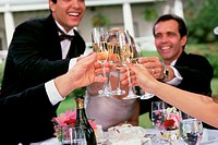Group of people toasting with glasses of champagne
