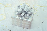 Close-up of a wrapped gift