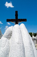 Rear view of a cross at St. Roch Cemetery, New Orleans, Louisiana, USA
