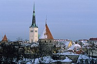 St. Olaf Church and Lower Walls, old town from Toompea. Tallinn, Estonia