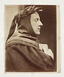 'John Everett Millais as Dante', 1862.Photograph by David Wilkie Wynfield (1837-1887) of British Pre-Raphaelite painter John Everett Millais (1829-189...