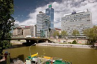 High Rise Buildings along the Danube Canal. Commercial Vienna. Vienna. Austria. 2004.