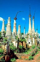 Shrines on a landscape, Shwe Indein Pagoda, Myanmar