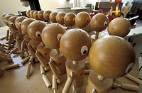 High angle view of wooden puppets, Moirans_en_Montagne, France