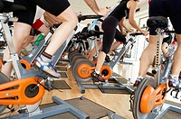 Spinning, training program for cardiovascular work and toning up in exercise bicycle. Real Club de Tenis de San Sebastián, Gipuzkoa, Euskadi