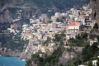 High angle view of buildings in a town, Positano, Italy