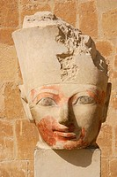 Sculpture in Hatshepsuts temple at Deir el-Bahri, near Thebes. Luxor, Egypt