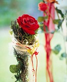 Red rose wrapped in moss and sisal
