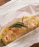Turkey roulade with sage in paper