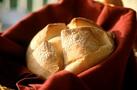 Sourdough Bread in Basket with Napkin